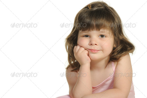 The lovely little girl close up - Stock Photo - Images