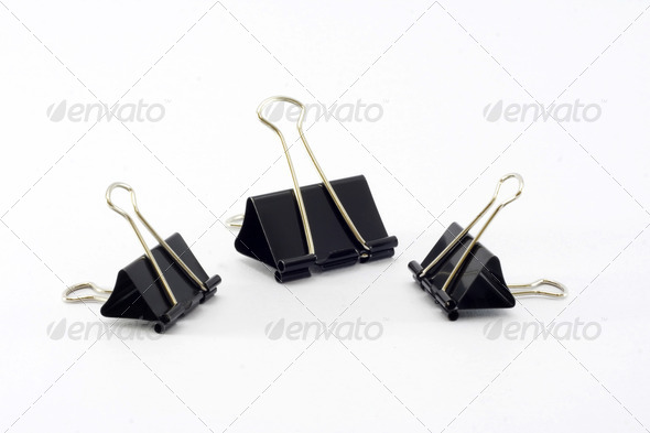 Three paper Clips on white background. - Stock Photo - Images