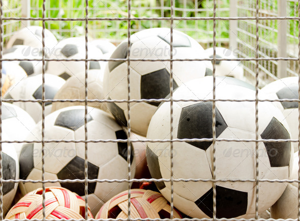 many soccer balls - Stock Photo - Images