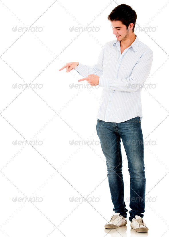 Man pointing with both hands - Stock Photo - Images