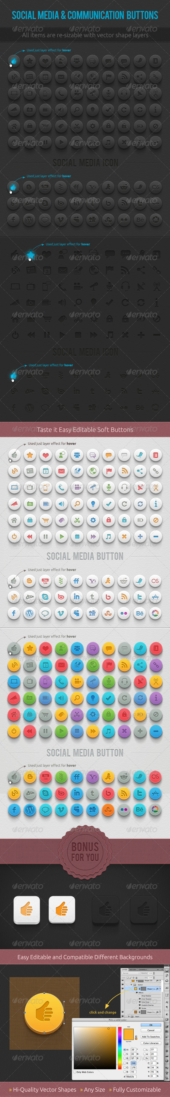 Media & Communication Buttons - Buttons Web Elements