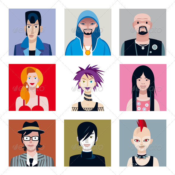 GraphicRiver Urban Tribes Avatars Set 2574452