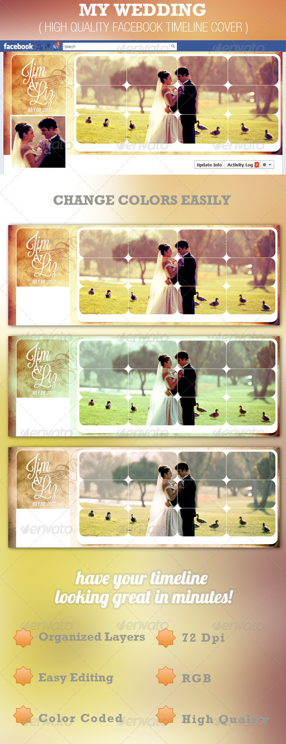 GraphicRiver My Wedding Facebook Timeline Cover Template 2564487