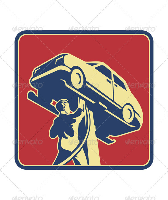 GraphicRiver Mechanic Technician Car Repair Retro 2574704
