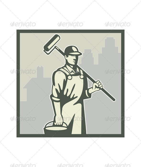 Painter Paint Roller Worker House Retro Graphicriver