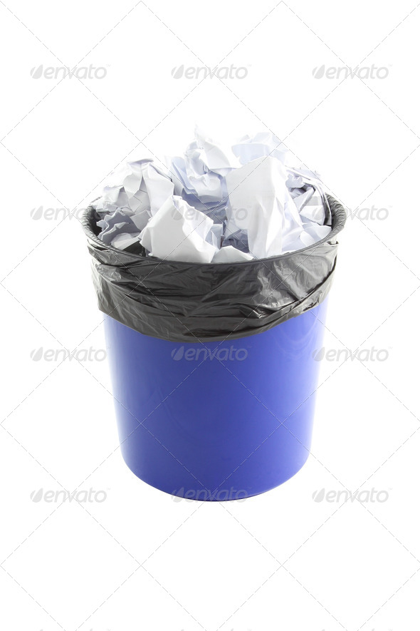 Blue plastic trash and paper in garbage bag on white background. - Stock Photo - Images
