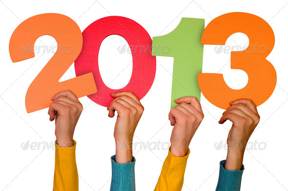 Hands With Numbers Shows Year 2013 - Stock Photo - Images