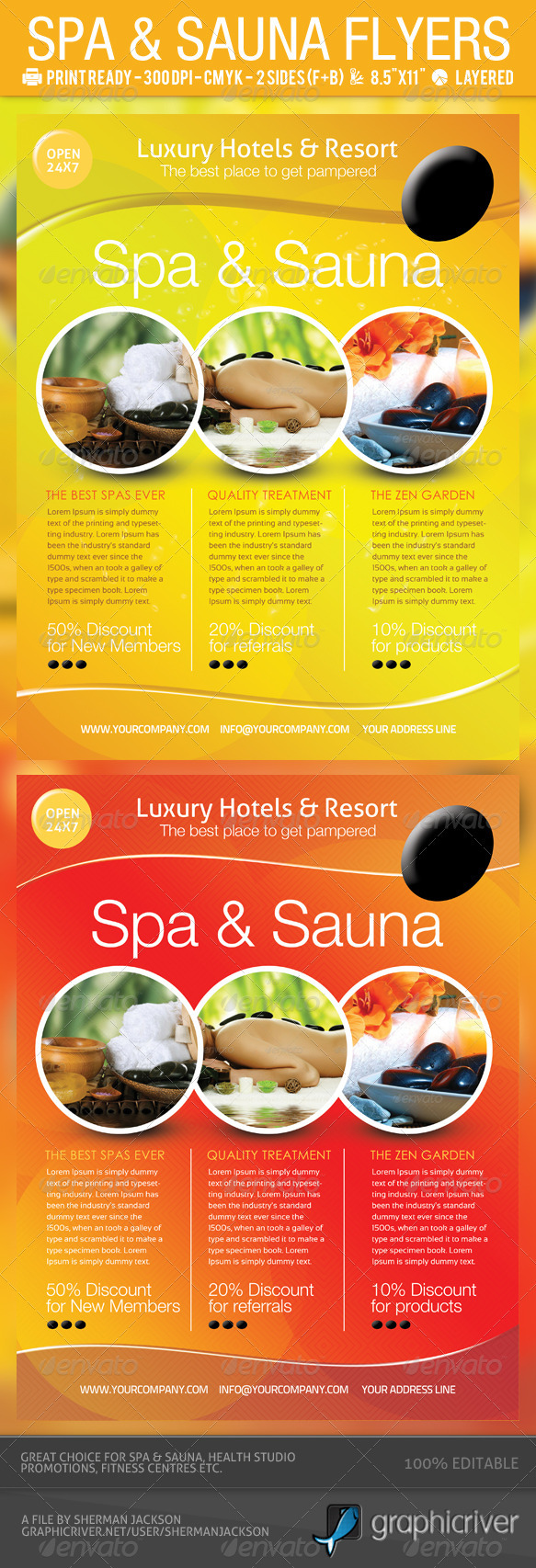 Spa &amp; Sauna Flyers PSD Template - Commerce Flyers