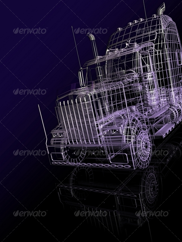 3d  Booth of Truck - Stock Photo - Images