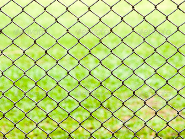 iron wire fence on green grass background . - Stock Photo - Images