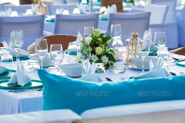 Served table in a luxury outdoor restaurant - Stock Photo - Images