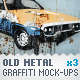 Metal Surface - 3 Graffiti Street Art Mockups - GraphicRiver Item for Sale
