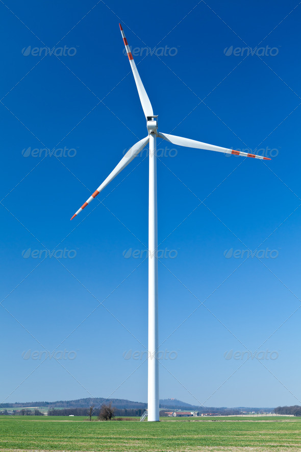 Wind turbine, alternative energy - Stock Photo - Images