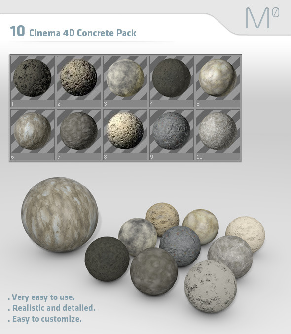 3DOcean 10 Cinema 4D Concrete Material Pack 2578336