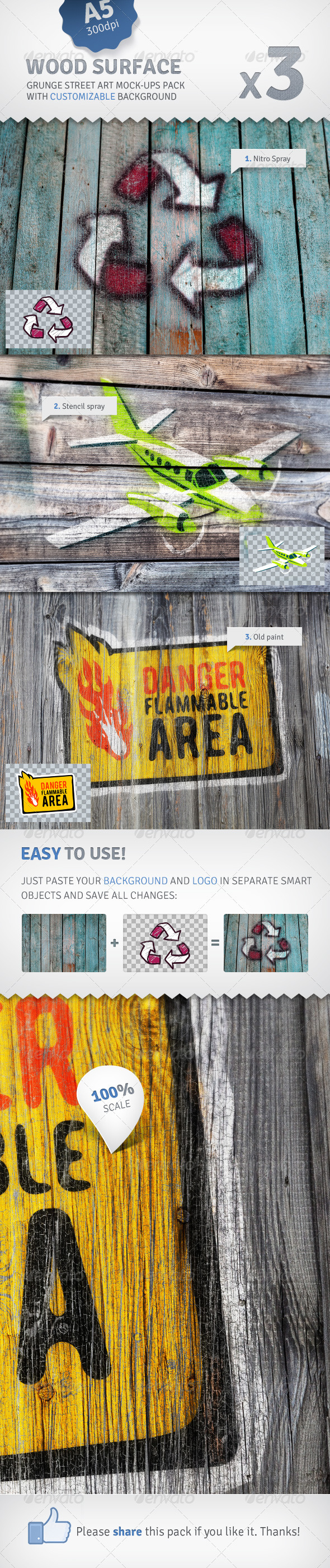 GraphicRiver Old Wood 3 Graffiti Street Art Mockups 2578341