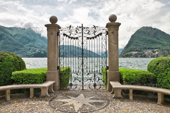 Lake Lugano. Switzerland. Europe. - Stock Photo - Images