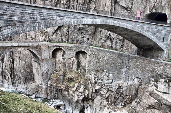 Devil&#x27;s bridge at St. Gotthard pass, Switzerland. Alps. Europe - Stock Photo - Images