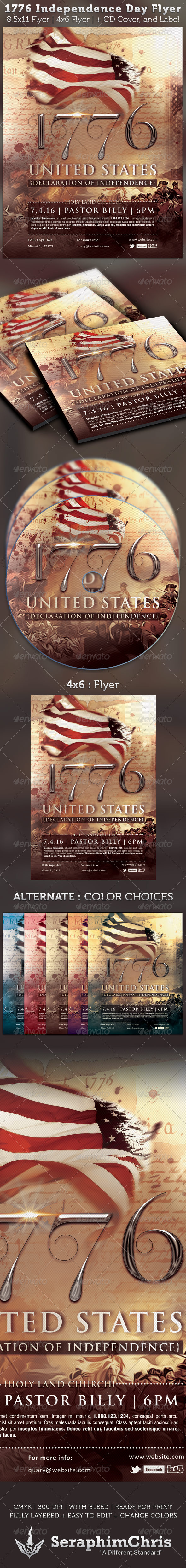 GraphicRiver 1776 Independence Day Flyer & CD Artwork Template 2579015
