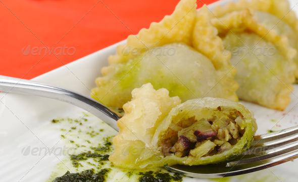 Empanada Filled with Meat on Fork - Stock Photo - Images