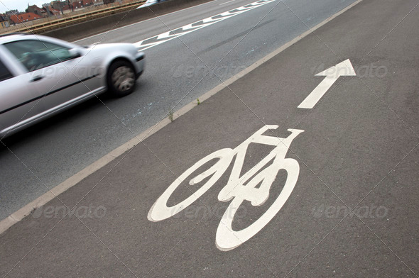 Bicycle sign on road - Stock Photo - Images