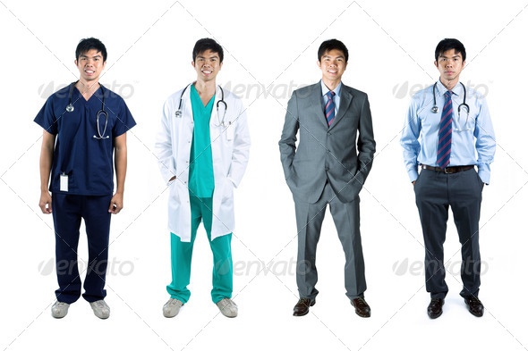 Four poses of the same male model in business & medical clothes - Stock Photo - Images