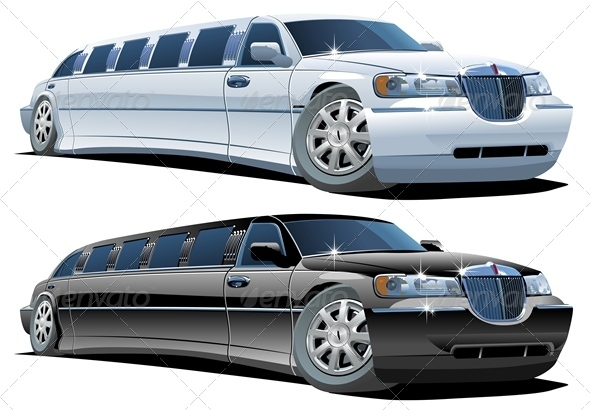 Cartoon Limousines Set - Man-made objects Objects