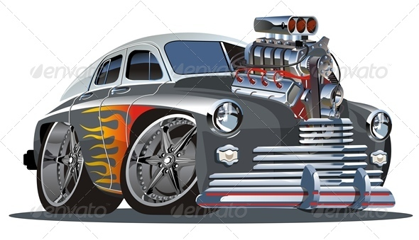 Retro Cartoon Hotrod Graphicriver