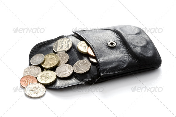 open wallet or purse with sterling coins isolated on white - Stock Photo - Images