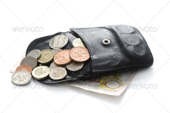 open wallet or purse with sterling coins and note isolated on white - Stock Photo - Images