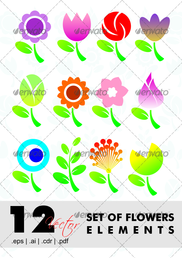 GraphicRiver 12 Set Of Flowers Elements 2581239