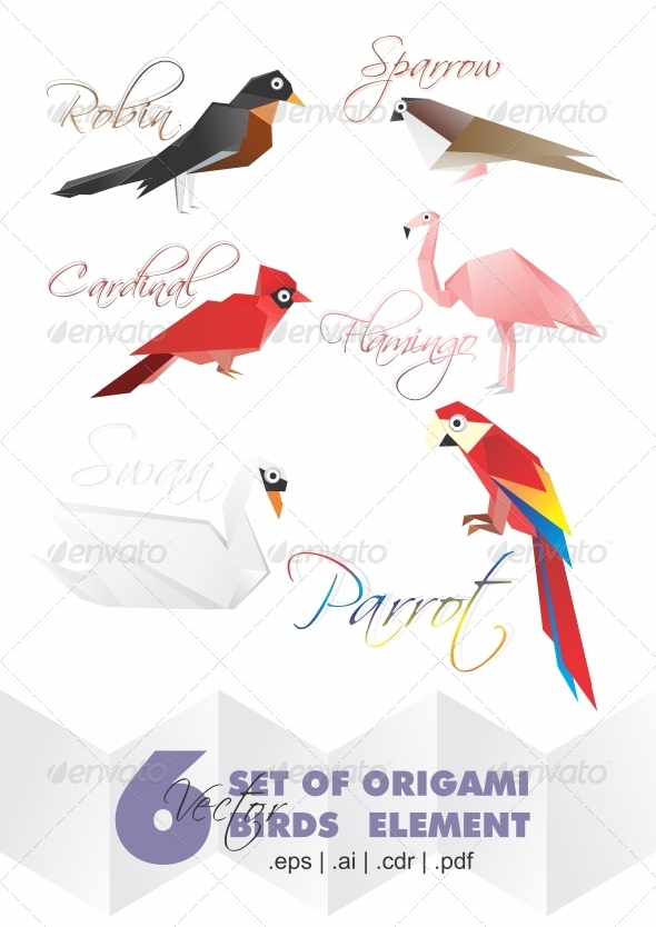 GraphicRiver 6 Set Origami Of Birds Elements 2581377