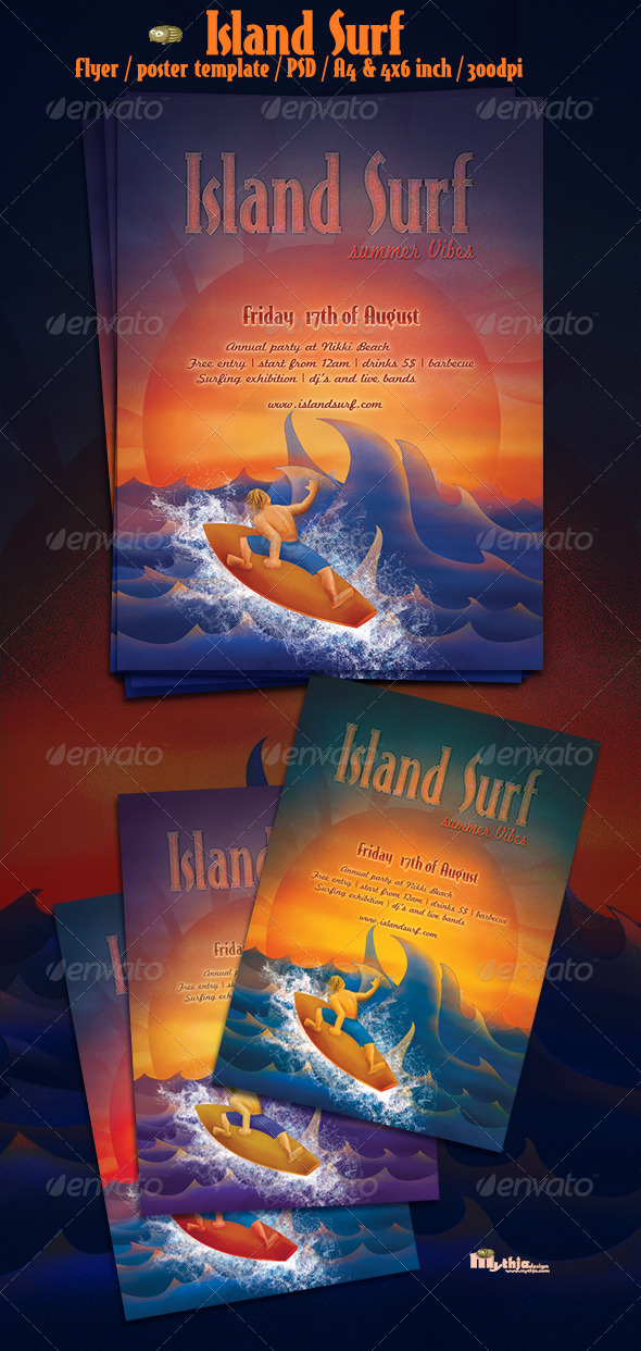 Island surf - flyer/poster template - Events Flyers