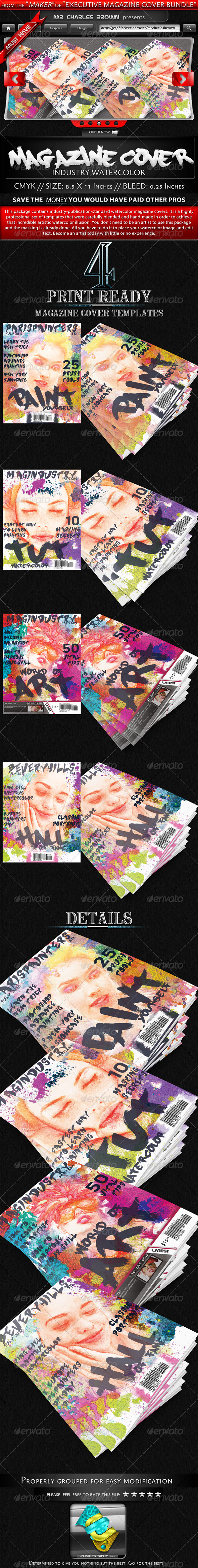 Industry Watercolor Magazine Cover Templates - Magazines Print Templates