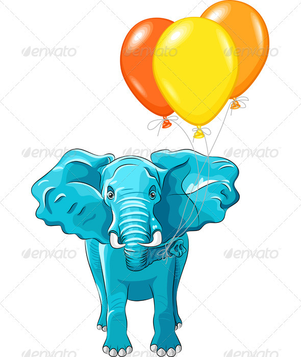 Vector blue African Elephant with Baloons GraphicRiver - Vectors -  Conceptual  Seasons/Holidays 2582727