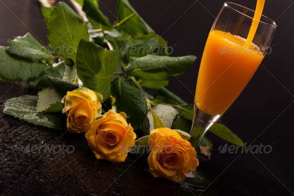 Eggnog And Roses - Stock Photo - Images