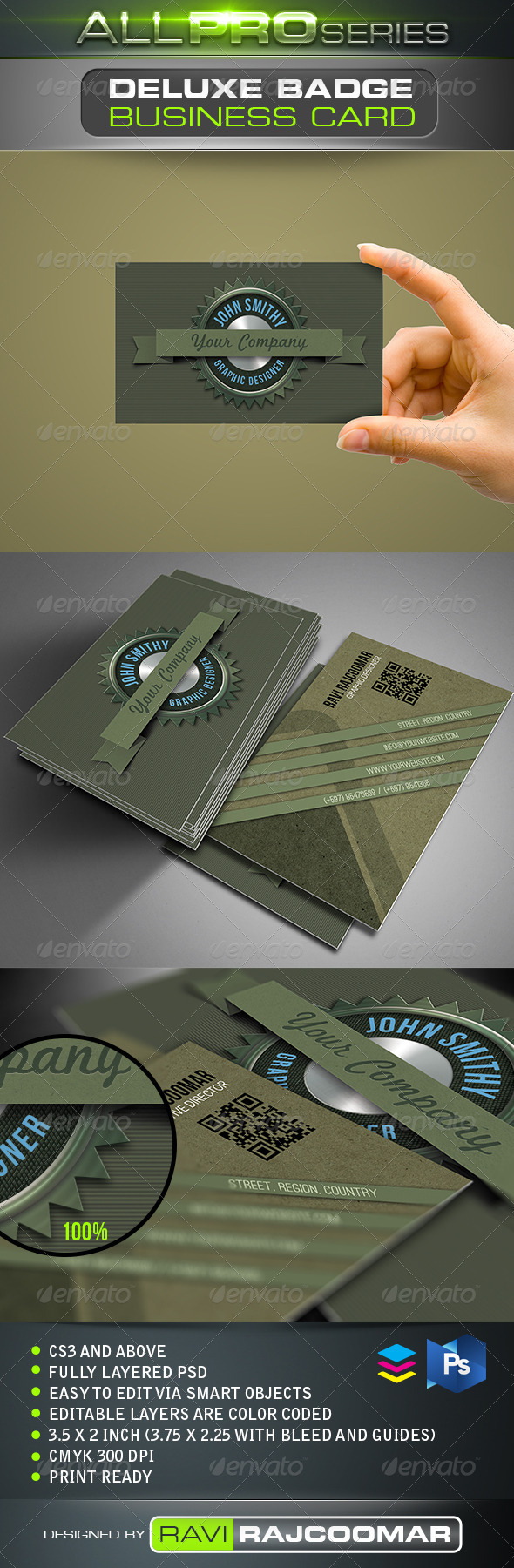 Deluxe Badge Business Card - Business Cards Print Templates