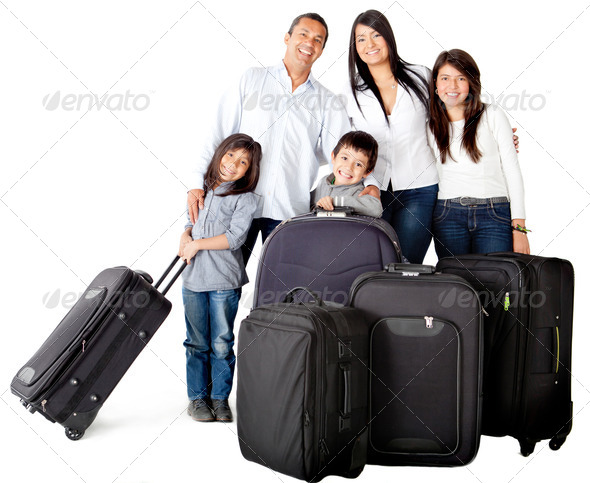 Family with bags - Stock Photo - Images
