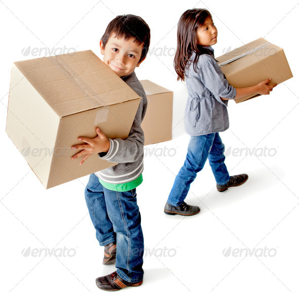 Kids with cardboard boxes - Stock Photo - Images