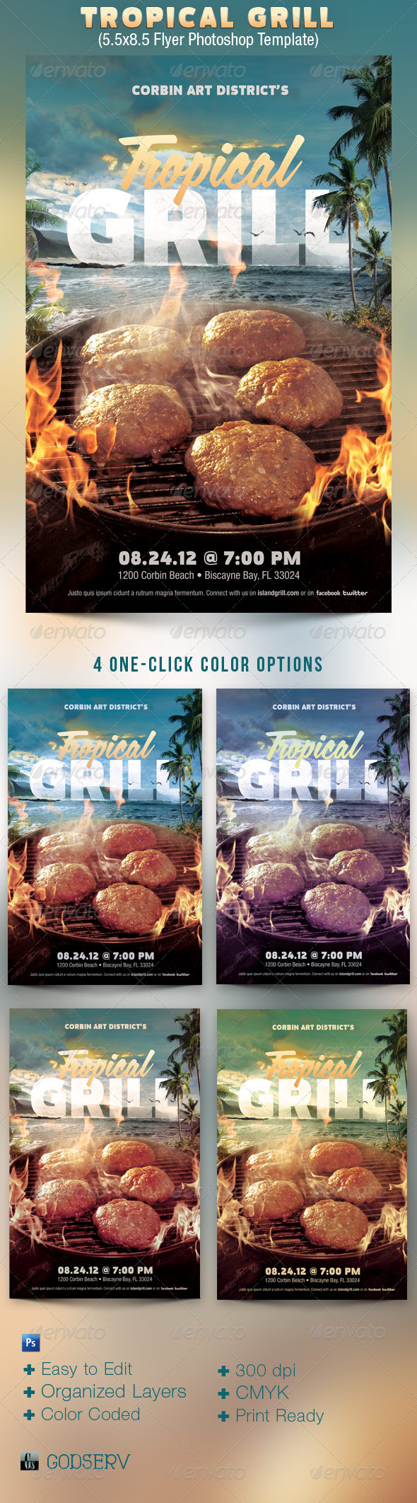 Tropical Grill Flyer Template - Events Flyers