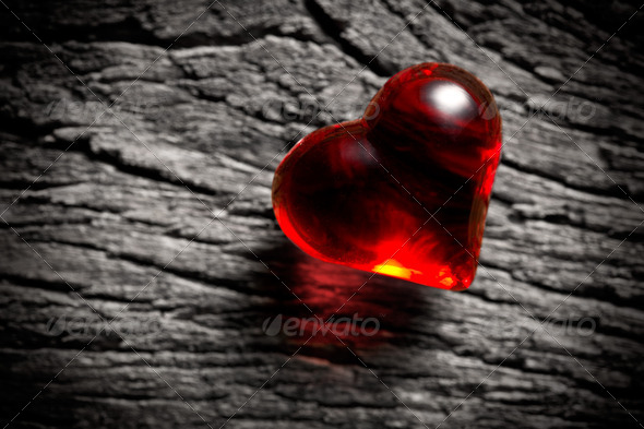 shining red heart - Stock Photo - Images