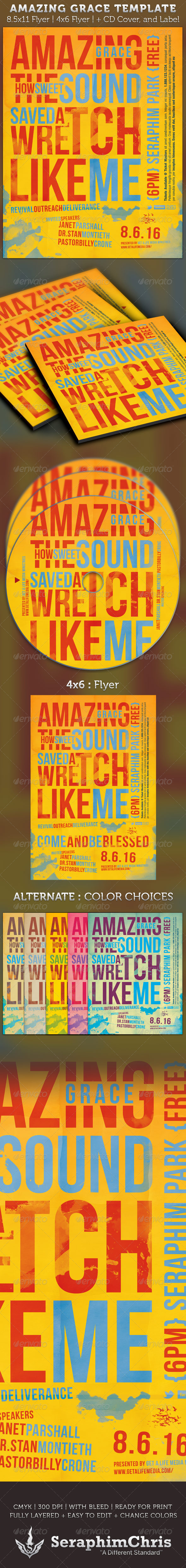 Amazing Grace Flyer and CD Artwork Template - Church Flyers