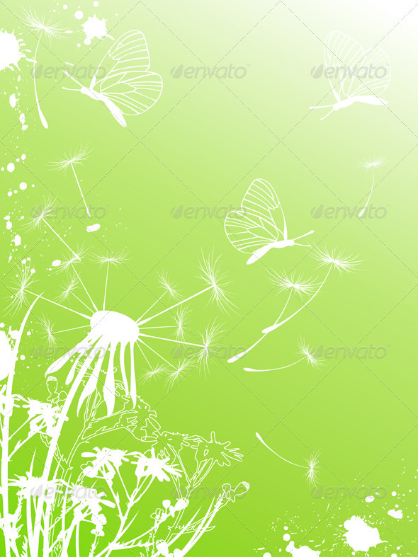 Background with Dandelion and Butterflies - Flowers & Plants Nature