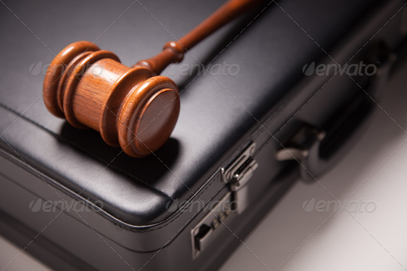 Gavel and Black Briefcase - Stock Photo - Images