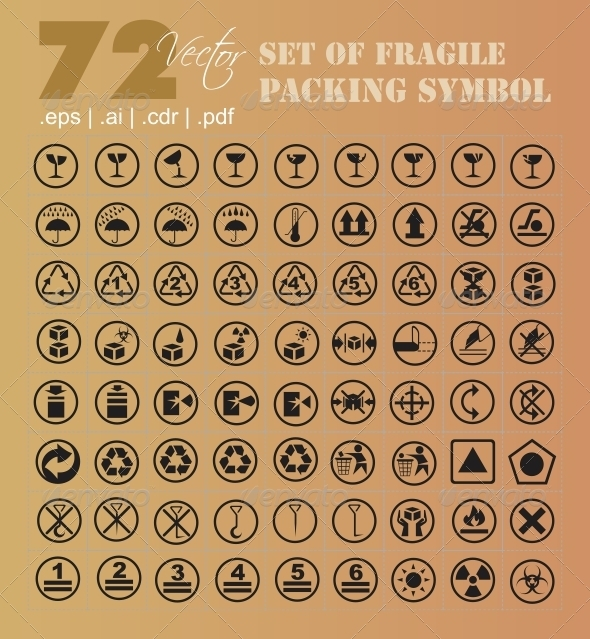 72 Set of Fragile Packing Symbol - Miscellaneous Vectors