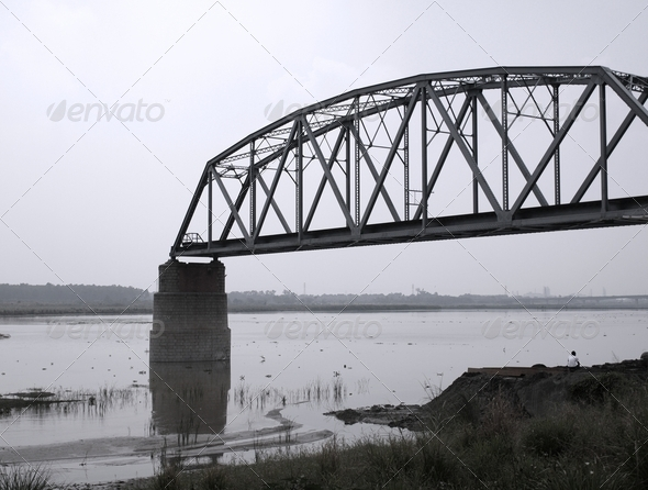Ruin of an Iron Railway Bridge - Stock Photo - Images