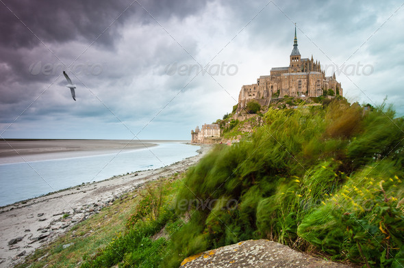 Mont Saint-Michel at windy stormy day - Stock Photo - Images