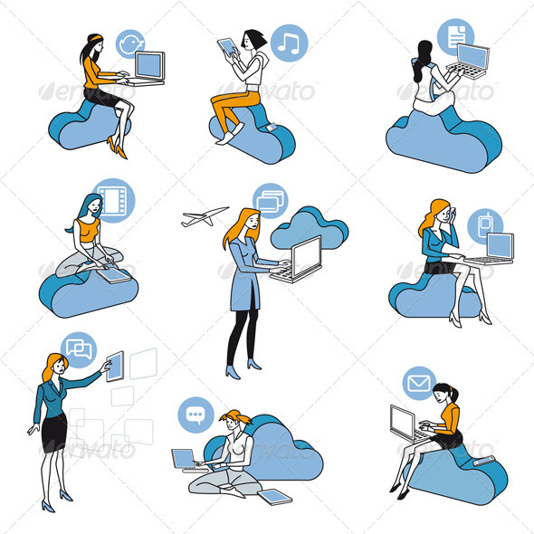 GraphicRiver Cloud Computing Blue Girls Set 2585484