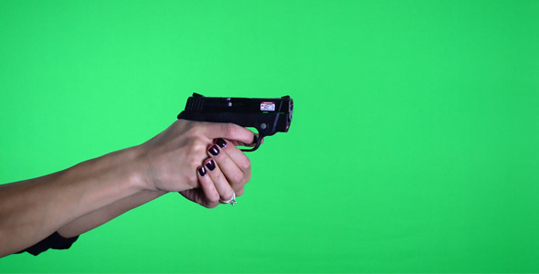 VideoHive Female Shooting Bodyguard 380 Handgun Pistol 2573214