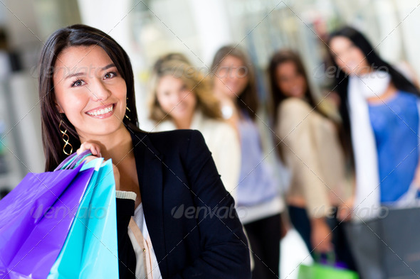 Woman at shopping center - Stock Photo - Images
