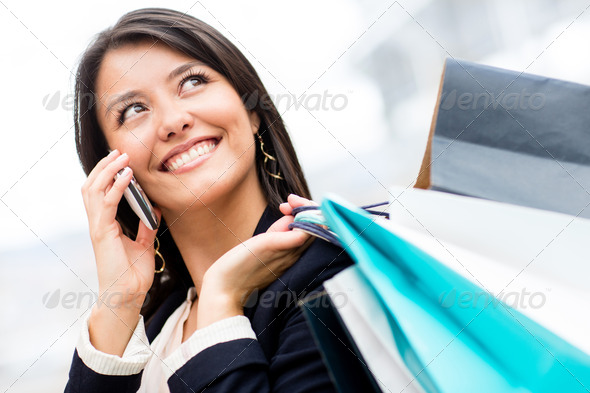 Shopping woman on the phone - Stock Photo - Images